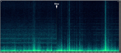 Figure 1: Macarthur wind farm shutdown during a 5-hour spectrogram