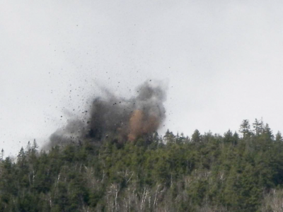 Uncontrolled Blasting, Lowell Mountain, Vermont - Photo by Shirley Nelson